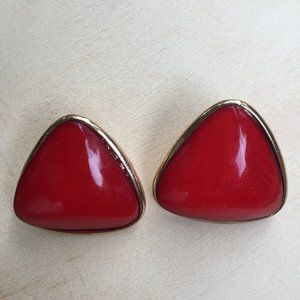 4/$25 Red & gold-tone earrings